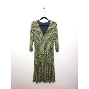 Boden Green Double Layer Flower Jersey Dress 12